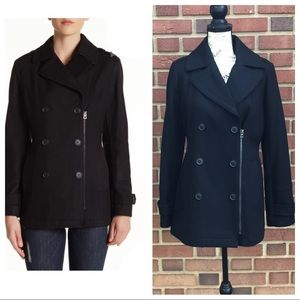 Lucky Brand Zip Front Wool Blend Peacoat
